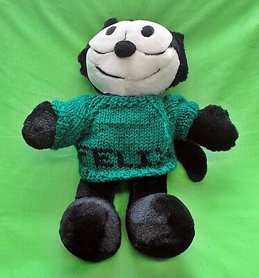 "13"" FELIX THE CAT Plush Stuffed Toy - Green Sweater with Name on it"