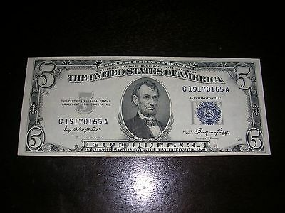 1953 $5 Silver Cert. Note in XF+ condition ($5 face Value)