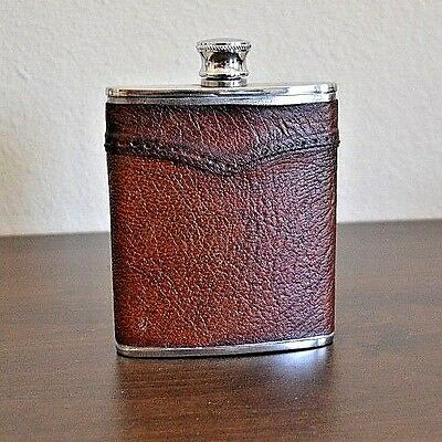 Vintage Stainless Steel 6 oz. 175ML Flask Made in England Brown