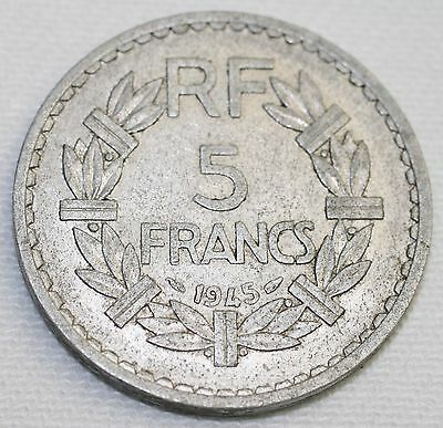 1945 French 5 Francs Coin Rf Republic Of France