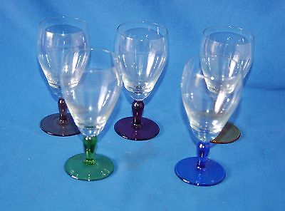 Set of 5 vintage port/sherry glasses with varying coloured stems