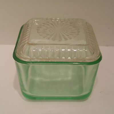 Green depression 4.5 inch square glass covered refrigerator dish-cover clear