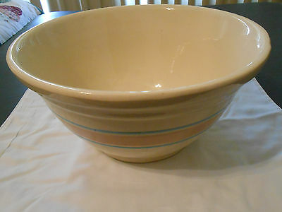 Vintage Ovenware Mixing Bowl #12 USA Pottery Pink and Blue Stripes