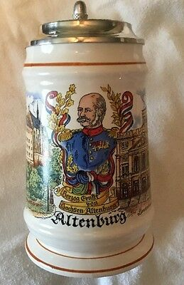Beer Stein Made In Germany With Lid Altenburg Rare