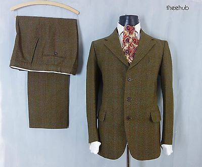 Country Vtg 50's Olive Green Check Guards Thornproof Wool 3 Button 2 Piece Suit
