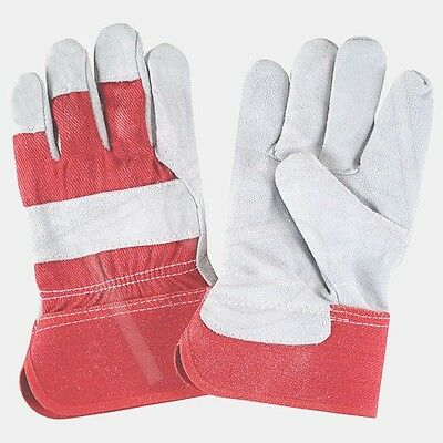 120 X Pairs-Work Gloves Split Cowhide Fitters Gloves, Rubberized Cuff, Large