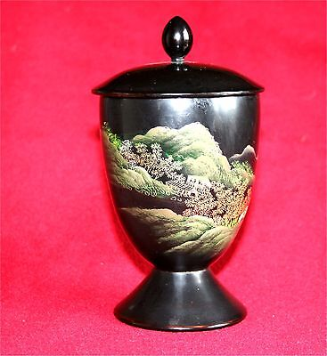 Japanese Black Lacquer Papier-Mache Cup Chalice With Lid Japan