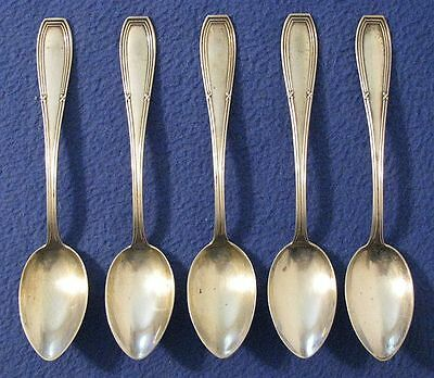 "5 Antique German 800 Silver 5¾"" Spoons Marked W/ Letter G In Pine Tree 103 Grams"