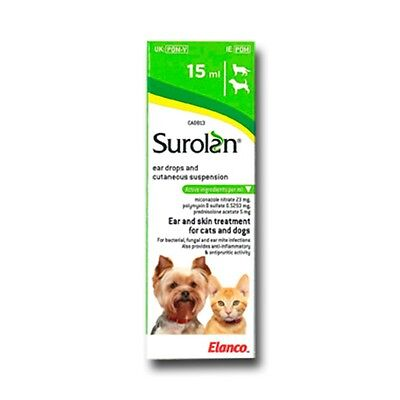 Surolan Elanco Gocce Otite cani gatti Ear drops infections for dog and cat 15ml