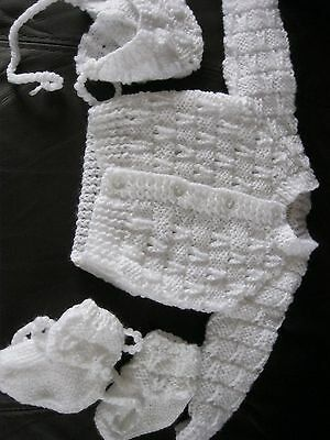 baby set white 0/3mths hand knitted