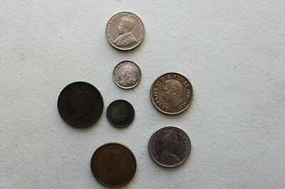 Canada 7 diff. Varieties of coins cent - Nickel- Quarter