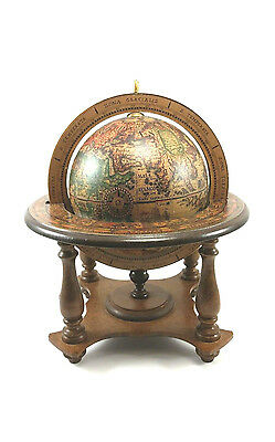 Olde World Wood Spinning Globe Desk Mini 11 inch Zodiac Made In Italy Vintage