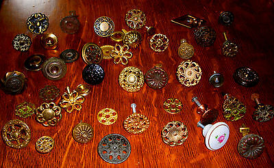 (( #  28 )) ((( 1800's To 1940's  37 Mixed Drawer, Knobs Plus Back Plates )))