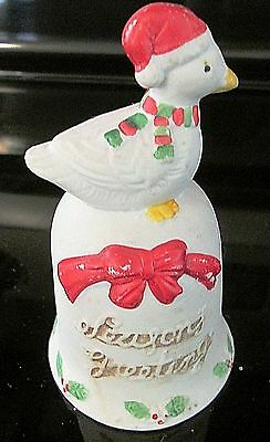 Vintage Christmas Duck/Goose Porcelain Bell Ornament Season Greeting