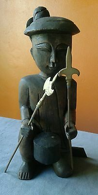 """ASIAN or INDONESIAN wood sculpture - man w/spears - hunter, tribal - vintage 12"""""""
