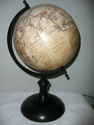 "Small Tan World Globe Wood Base Approx 15"" H   8"" Diam"