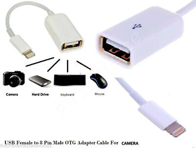 apple lightning 8 pin to female usb camera adapter otg cable connection kit  new