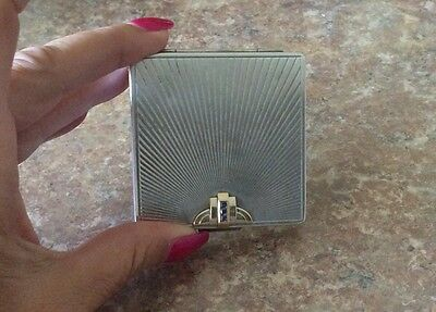 Antique Tiffany & Co Sterling Silver & 14K Gold  Sapphire Compact
