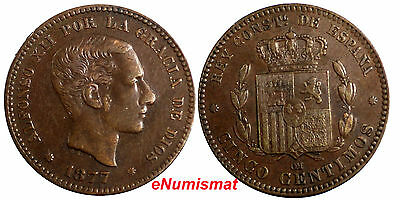 Spain Alfonso XII Bronze 1877 OM 5 Centimos VF/XF Condition KM# 674