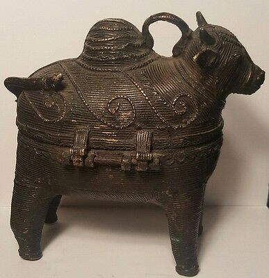 Outstanding Old Large Antique  Bronze Cow / Calf Betel Nut Box India Beautiful!!