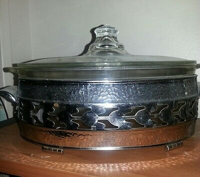 glass casserole with stainless holder