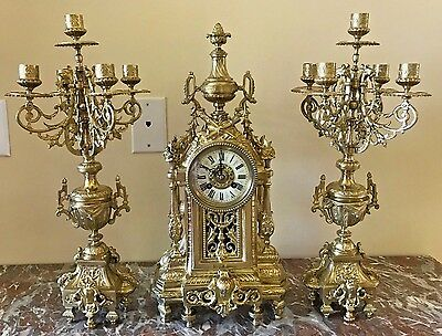 Gorgeous France Bronze Mantel Clock With Candelabras S.marti 1890