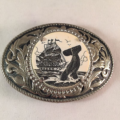 Tall Ship & Whale Scrimshaw Metal Belt Buckle