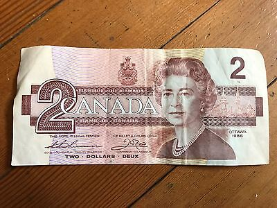 Canada $2 1986 Bonin Thiessen Replacement Paper Money Note