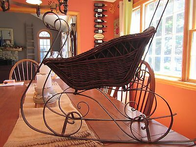 Antique Wicker Baby Infant Doll Sleigh Sled Carriage Metal Frame