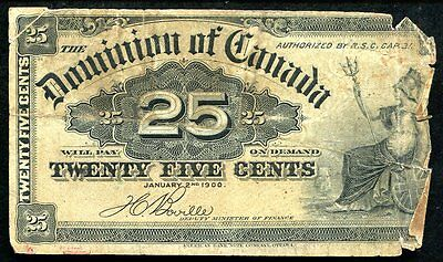 "1900 25 Twenty Five Cents Dominion Of Canada ""Shinplaster"" Banknote"