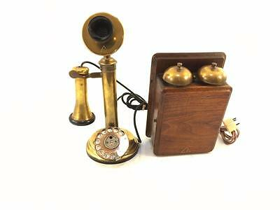 Antique Vintage Brass General Electric Co. Dial Candlestick Phone & Ring Box