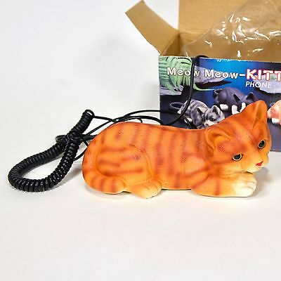 """Vintage Orange Tabby Cat Touch-Tone Phone - New in Box - 8"""" x 8"""" x 4"""""""