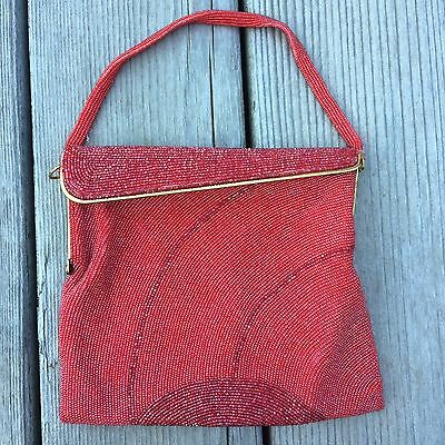 Vintage Red Hand Beaded Purse Made in Belgium Frances Hirsch Handmade