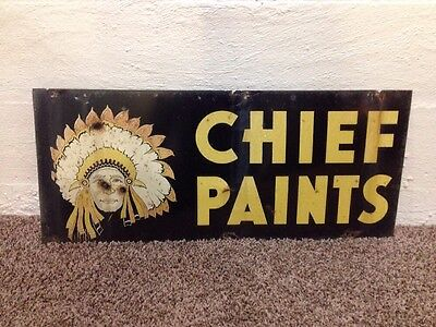 Vintage Tin Sign Chief Paints American Indian 12x28 Double Sided
