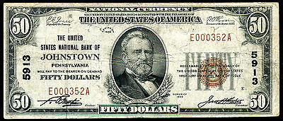 1929 $50 The United States Nb Of Johnstown, Pa National Currency Ch. #5913