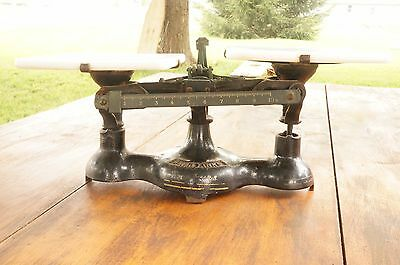 Vintage Antique Cast Iron Fairbanks Standard Counter Scale Porcelain Pans