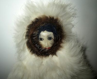 Old Eskimo Indian INUIT DOLL With BEADED RABBIT FUR COAT - LARGE