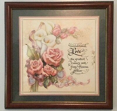 """Home Interior / Homco Picture """" Unconditional Love"""" 13 1/2"""" X 13 1/2"""" Wood Frame"""