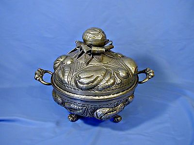 Terrific Antique Hand Hammered Embossed Fruit Silver Plate Covered Bowl Tureen