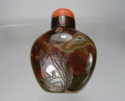 19th Century, Carved Banded Agate Snuff Bottle
