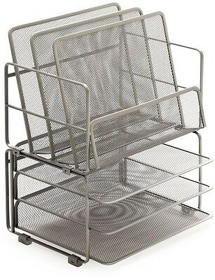 3-Tier Steel Mesh Stackable Desk Organizer Set Desktop Office Supplies Platinum
