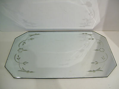 "Vintage Art Deco Vanity Dresser Beveled Glass Etched Mirror Tray 16"" x 10"""