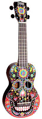 Mahalo Art Series Day of the Dead Soprano Ukulele with Bag and Aquila Strings