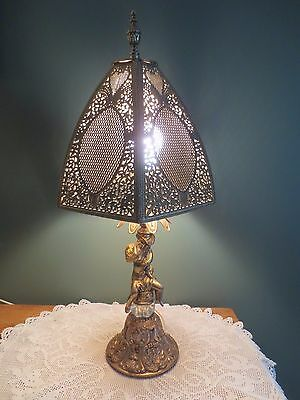 * Vintage Brass Figure Table Lamp With Brass Filigree Pierced Shade * Rare *