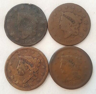 1822 1825 1838 1851 Matron & Liberty Head Large One Cent 1c Penny lot of 4 Coins