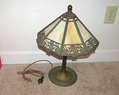 Pretty Antique Signed Bradley & Hubbard 8 Panel Slag Glass Table Lamp Base B&h