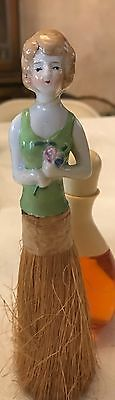 Antique Rose Holding Porcelain Lady Topped Clothes Brush ***