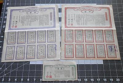 3 Antique Chinese Bonds Provincial Government of Kwang-Tung 1912 $2 - $5 & $10