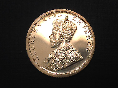 - 1921 C  British India  George V Silver Half 1/2 Rupee Choice Proof Restrike