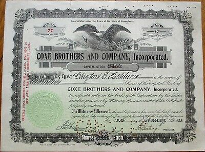 'Coxe Brothers & Company / Cross Creek Coal 1925 Mining Stock Certificate - PA